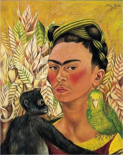 Self-Portrait with Monkey and Parrot.