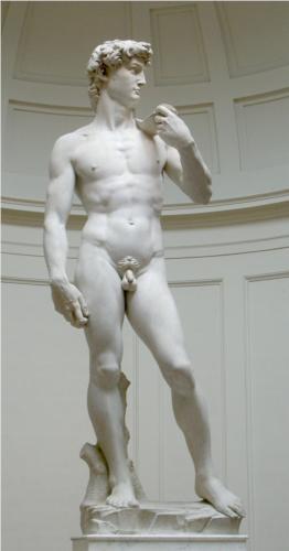 David (detail). Marble.