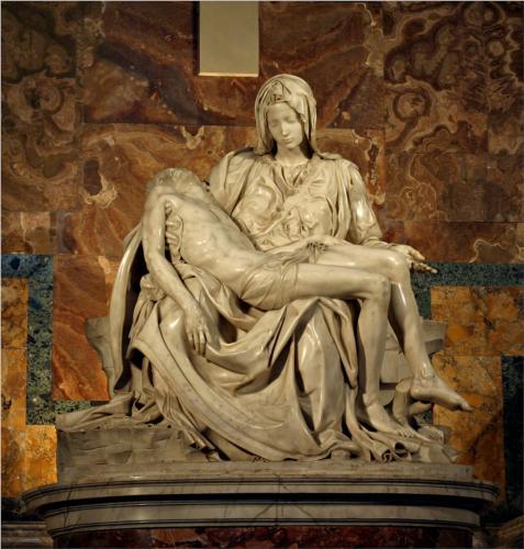 Pieta (detail). Marble.