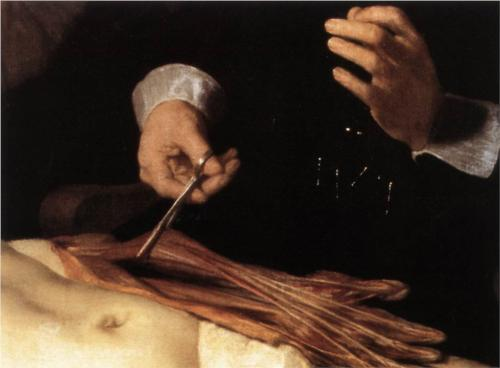 Doctor Nicolaes Tulp's Demonstration of the Anatomy of the Arm. (Detail)