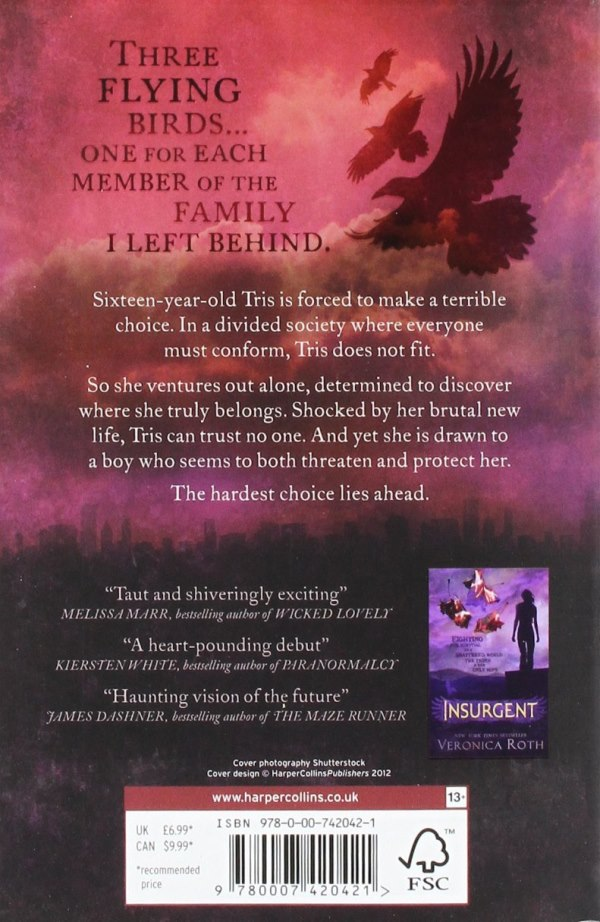 Back Cover of UK version Divergent Novel